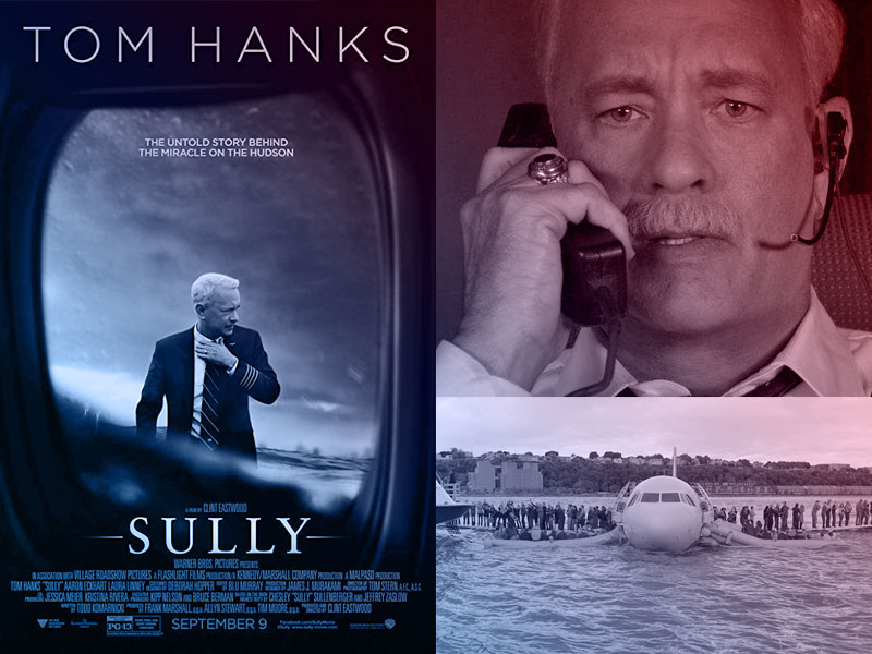 Capa do filme  Sully: O Herói do Rio Hudson com ator Tom Hanks e ao lado Screenshots de cenas do filme.