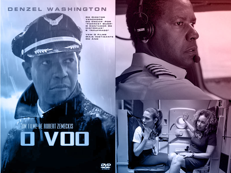 Capa do filme O Voo com o ator  Denzel Washington e ao aldo Screenshots de cenas do filme
