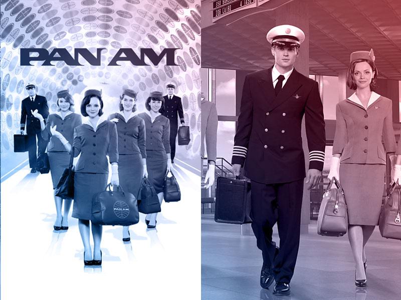 capa do filme Pan Am e ao lado print de tela com piloto de comercial de avião e comissário de voo